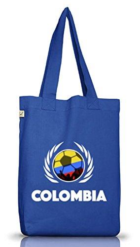 ShirtStreet Colombia Fussball WM Fanfest Gruppen Jutebeutel Stoffbeutel Earth Positive Fußball Kolumbien, Größe: onesize,Bright Blue