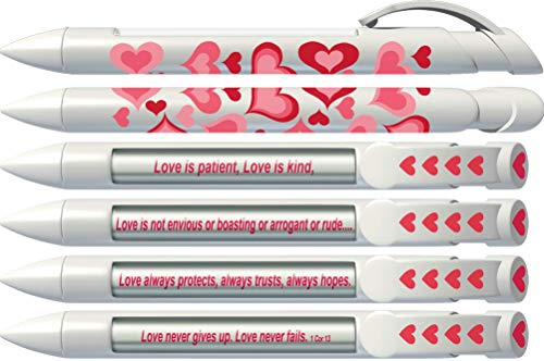 Love Pen by Greeting Pen- Magenta Red Hearts Rotating Message 6 Pen Set 36574, Red, Pink, White