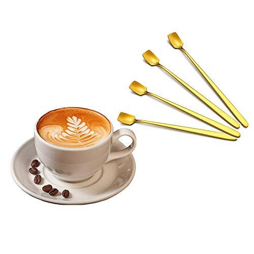Gaccueil Inoxidable Cucharitas de Café con Mango Largo, Cucharillas, Helado Cucharas, Cucharas de Postre, Cucharas de Azúcar, Cucharas de cóctel largas, 4 piezas (Oro) 17CM