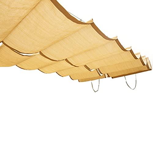 COFFEE CAT Vela De Sombra Wave Shade Retráctil Toldo,Cubrir Diapositiva Reemplazo Sombreado Tela, Onda Toldo Conducción Patio Plataforma,Gris 40 Tamaños (Color : Beige, Size : 150x900cm)