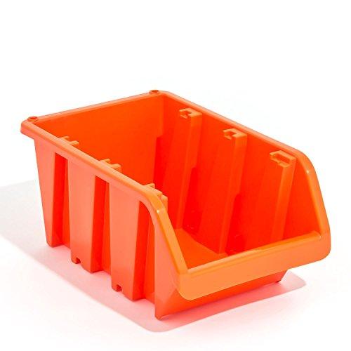 5 Stapelboxen In-Box Sichtlagerkästen Sortierkiste Sichtlagerbox orange Gr 5
