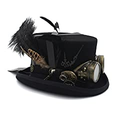 MUJUN Unisex Punk Men's Women's Festival Costume Set Black Hat with Goggles, Steampunk Top Hat, Victorian Wedding Top Hat, Burning Men Cosplay Nutcracker Festival Hat Cosplay Hats #3
