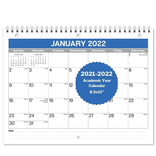 Dunwell Small Wall Calendar 2021-2022 - (Blue, 8.5x11) Use Monthly Calendar from July 2021 to December 2022. Three Hole Punched, Use with Binder Folder, Desk or Wall, or Desktop Calendar 2022
