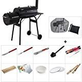 Outdoor 2-in-1 B<span class='highlight'>BQ</span> Grill - Charcoal <span class='highlight'>Bar</span>becue Grill with Offset Smoker, Meat Smoker w/Temperature Gauge for Home, Backyard, Garden, Terrace, Camping,B