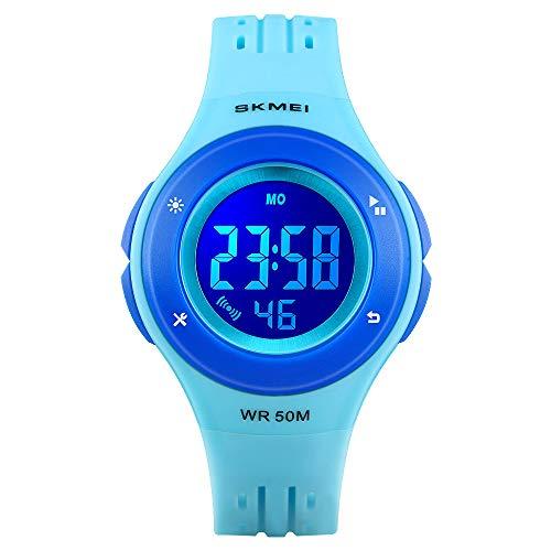 Kinderuhr, CestMall LED Digitaluhr mit Alarm, 50M wasserdicht Sportuhr Kinder Multifunktions-Armbanduhr für Jungen Mädchen Kinderuhren Geschenk - Blau