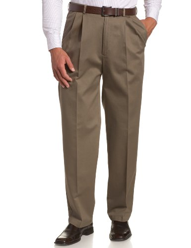 Haggar Men's Work To Weekend Khakis Hidden Expandable Waist No Iron Pleat Front Pant,Brown,30x30