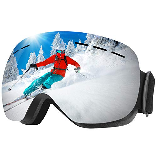 WELLVO Ski Goggles OTG Snowboard Goggles Anti-Fog Dual Lens 100% UV Protection TPU