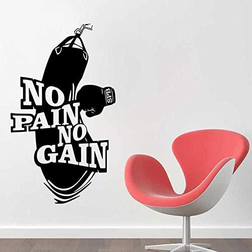 LovelyHomeWJ No Pain No Gain Vinilo Tatuajes de Pared Decoración del hogar Arte Cartel Entrenamiento Fitness Guantes de Boxeo Saco de Boxeo Etiqueta de la Pared Mural 57x97cm