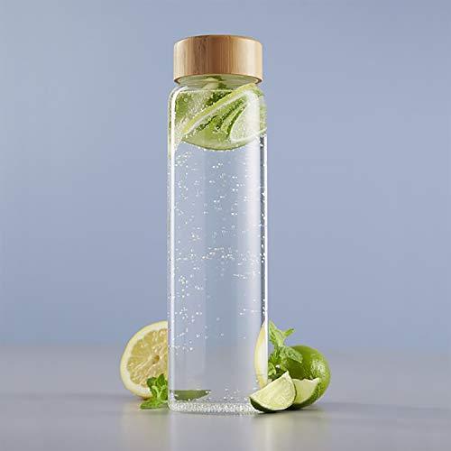 Jarra 1 litro 8x30cm, jarra de vidrio con tapa de bamb , jarra de agua