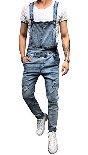 LONGBIDA Men's Denim Bib Overalls Fashion Slim Fit Jumpsuit with Pockets(Light Blue,L)