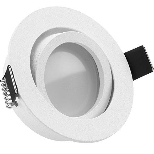 LED Einbaustrahler Set EXTRA FLACH (35mm) in Weiß matt mit LED Markenleuchtmittel von LEDANDO - 5W DIMMBAR - 3.000 Kelvin warmweiss - 110° Abstrahlwinkel - schwenkbar - 35W Ersatz