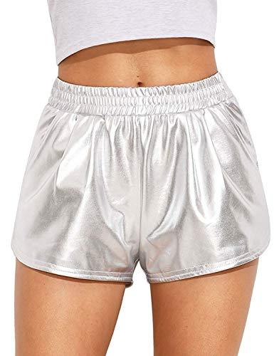 Women's Yoga Hot Shorts Shiny Metallic Pants (Silver, Large)