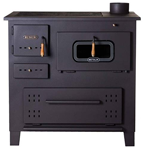 Estufa de leña de hierro fundido de Prity, Quemador en la parte superior para cocinar al horno, Potencia de calefacción 13kW