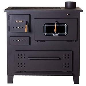 Estufa de leña de hierro fundido de Prity, quemador en la parte superior para cocinar al horno, 13kW