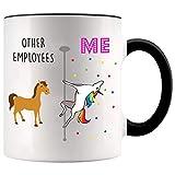 YouNique Designs Employee Mug, 11 Ounces, Unicorn Mug, Employee Appreciation Gifts, Thank You Gifts Employee (Black Handle)