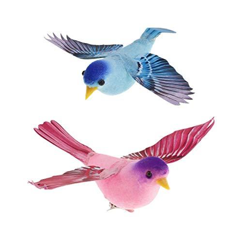 FLAMEER 2pcs Realistische Vogel Tiervogel Kunstvogel Federvogel Vogel Garten, perfekt für Baum Zaun Home Deko