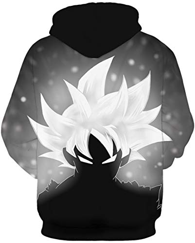 FLYCHEN Men's Unisex Hoodies 3D Printed Pullover Jumper Long Sleeve Sweatshirts (S/M, Black White 491)