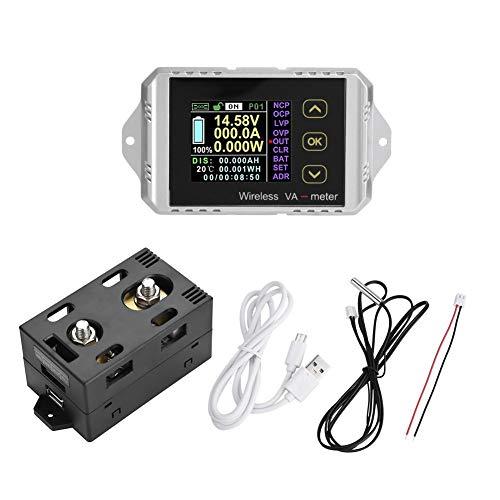 Voltímetro inalámbrico DC Amperímetro Amperímetro Inalámbrico DC Amperímetro Amperímetro Medidor de Potencia Vatios Coulomb Metro (VAT-1200, 0-200A 0-100V)