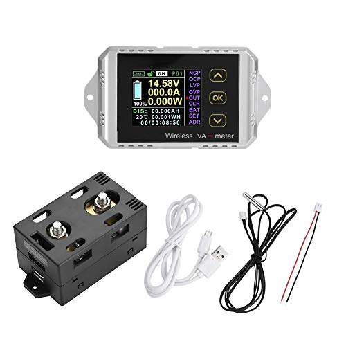 Review Hyuduo Wireless Color LCD Screen DC Voltage Ammeter Power Meter Watt Tester Electrical Leads ...