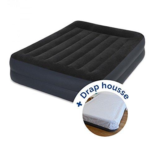 RAVIDAY Pack Matelas Gonflable Intex Rest Bed Fiber-Tech 203 x 152 x 42 cm + Drap Housse