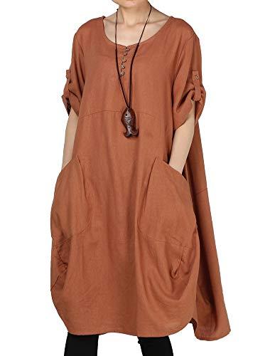 LaovanIn Women's Plus Size Tunic Dress Summer Cotton Linen T Shirt Knee-Length Dresses X-Large Brown