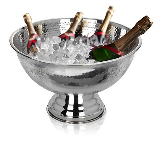 Krollmann Design Sektkühler aus Edelstahl Ø40 cm in Hammerschlagoptik Champagnerschale für bis zu 6 Flaschen – Flaschenkühler für den edlen Genuss von Champagner, Sekt, Wein, Spirituosen, Bier