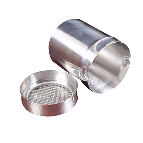 Yeefant Stainless Steel Sieve Flour Cup Mesh Pot Powder Sieve Light Control,Easy to Clean, 0.197x0.197x0.256 Ft
