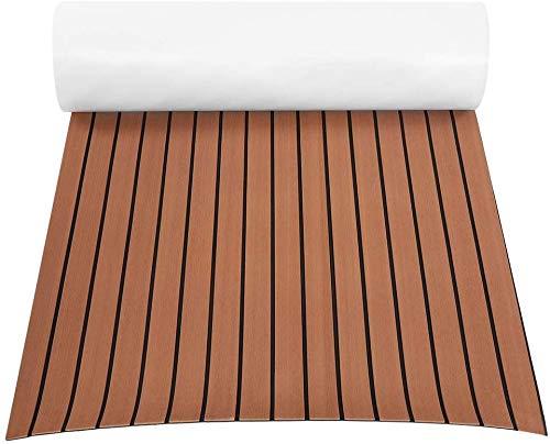 Rutschfeste Bodenmatte für Boot, Rutschfeste Bootsfußboden-Decking-Auflage EVA-Teak-Deckungs-Blatt-Boots-Bodenbelag Dunkelbrauner Teak-Boots-Bodenbelag 240 X 90 X 0.6cm (Dunkelbraun)