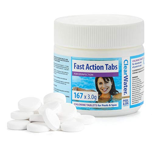 Clearwater CH0022 Fast Action Tabs, Chlorine Tablets for Hot Tub and Pools, Quick Dissolving, 167 Tablets