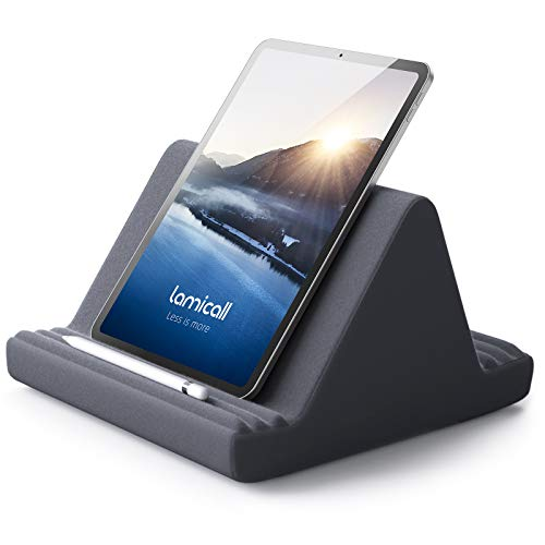 Lamicall Pillow Tablet Holder, Tablet Cushion Stand - Lazy Holder Stand for Bed Sofa, Compatible with New 2020 iPad Pro 9.7, 10.5, 12.9, iPad Air mini 2 3 4, Switch, Samsung Tab, iPhone, Books - Gray