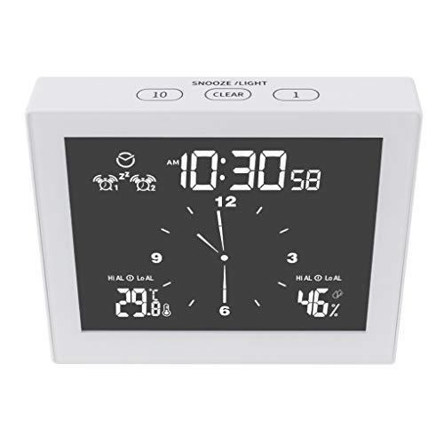 Tailixing LCD Horloge Murale numérique étanche Douche température Alarme minuterie hygromètre, Blanc