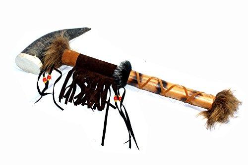 UNIKAT Indianer Tomahawk ca. 50 cm. echtes Horn, Medizin Shaking Drum, Rassel Deko Fasching Fotoshooting