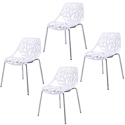 Sandinrayli Set of 4 White Side Dining Chair 30.7