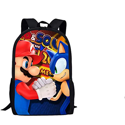 Sonic School Bag Kids School Bags with Lunch Box Pencil Bag Mario Sonic Printed Primary Student Backpack Boys Book Bag