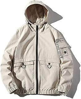 HAWEEL Hooded Loose Casual Jacket Print Tooling Jacket for Men Windbreaker Jacket
