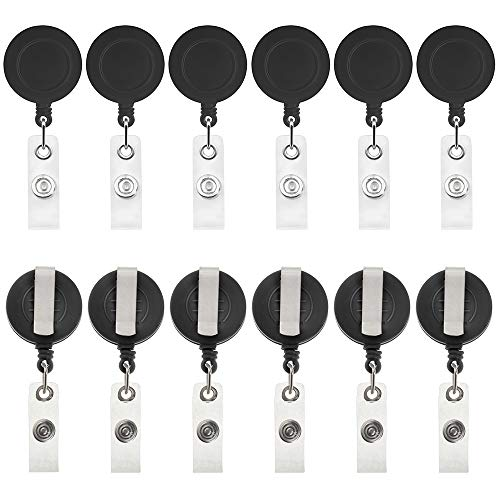 GOGOGO - 12 confezioni di porta badge retrattile con clip per cintura (trasparente/tinta unita), colore nero solido