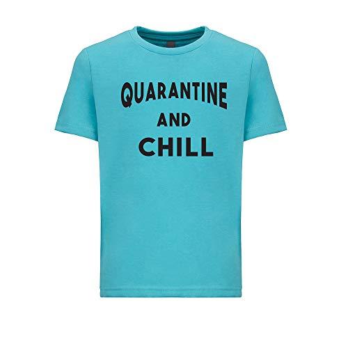feresline Quarantine and chill Shirts Boys Youth Social Distance quarantined 2020 t Shirt Unisex YS Shirt SDC27 Aqua