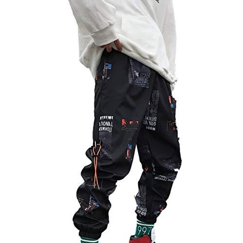 Pantalones Streetwear para Hombre Deporte Holgado Guapo Hip-Hop Pantalones cómodos Transpirables Resistentes al Desgaste de Nueve Puntos