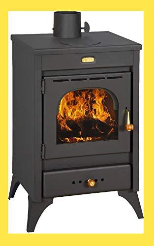 Stufa a legna carbone acciaio Kir 9 12 Kw vetro ceramico piastra cottura
