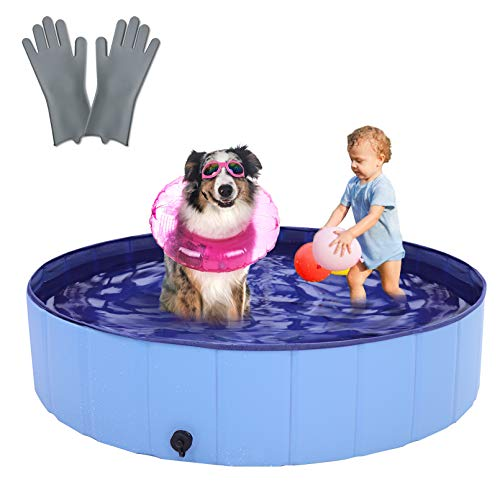 "RQN 48"" Foldable Dog Pool for Outdoor Backyard,Portable Pet Pool for Kid Baby Pet Dog Cat with Gloves"