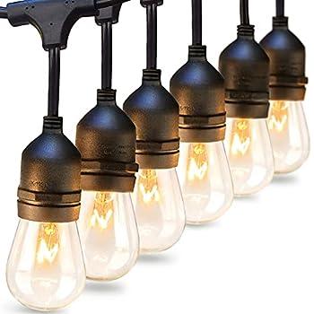 addlon 96 FT  2x48FT  Outdoor String Lights Commercial Grade Strand 32 Edison Vintage Bulbs 30 Hanging Sockets UL Listed Heavy-Duty Decorative Café Patio Lights for Garden Black