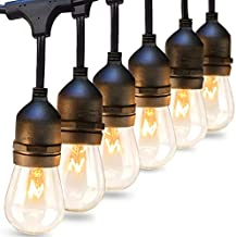 addlon 2 Pack 48 FT Outdoor String Lights Commercial Grade Weatherproof Strand 16 Edison Vintage Bulbs 15 Hanging Sockets, UL Listed Heavy-Duty Decorative Café Patio Lights for Bistro Garden