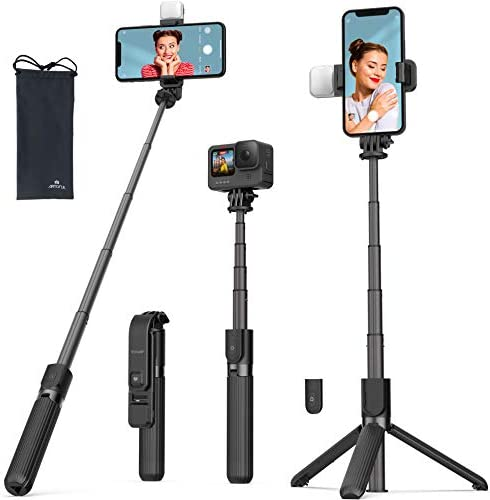 Selfie Stick Tripod with Fill Light ARTOFUL Phone Tripod Stand with Bluetooth Remote 360 Rotation product image
