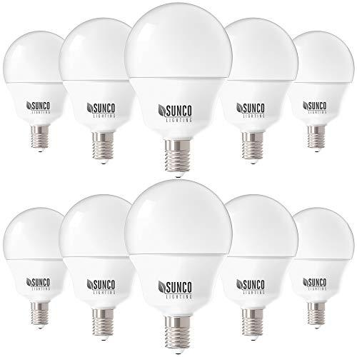 Sunco Daylight Deluxe 5 Watt (40 Watt Equivalent) 6000 Kelvin E12 LED Light Bulbs