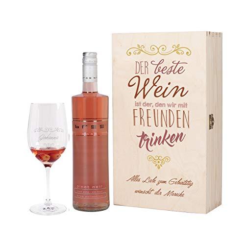 Herz & Heim® Wein Geschenkset mit graviertem Weinglas, Bree Wein zur Auswahl in Geschenkbox für Beste Freunde Rosé