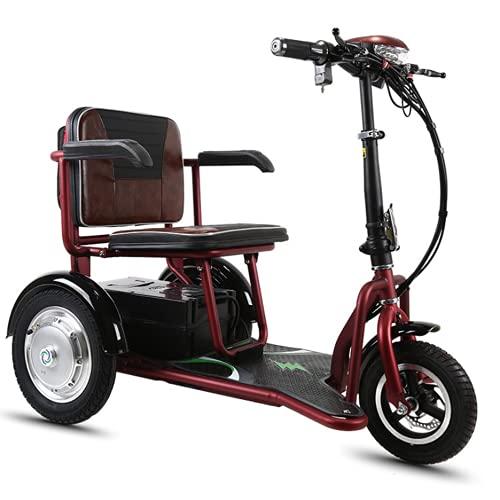 EWYI Scooters De Movilidad para Adultos, Ligero Plegable Sillas De Ruedas Eléctricas Móviles con 3 Velocidades, 3 Ruedas Triciclo De Viaje Scooters para Discapacitados De 10AH/35KM