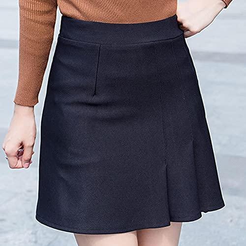 Falda Mujer Minifalda Japonesa Sólida Kawaii De Verano De Talla Grande para Mujer, Falda Imperio De Oficina,...
