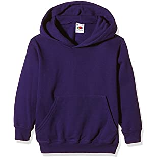 Fruit of the Loom Unisex Kids Pull-over Classic Hooded Sweat, Purple, 5-6 Years (Manufacturer Size26):Iracematravel
