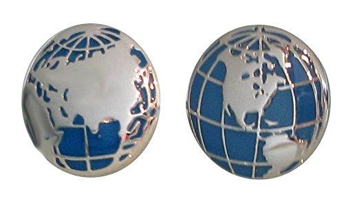 Unbekannt Manschettenknöpfe Weltkugel Globe blau silbern inkl. schwarzer Geschenkbox