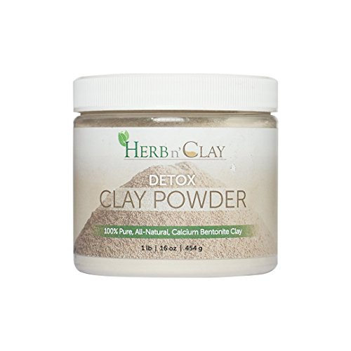 100% Natural Calcium Bentonite Detox Clay Powder -- for Detoxification, Colon Cleanse, Body Balance and Energy , Good for Internal n External Use -- 16 Ounce (1 Pound) by Herb n' Clay